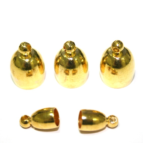 Gold colour bell connector - Kumihimo end connector