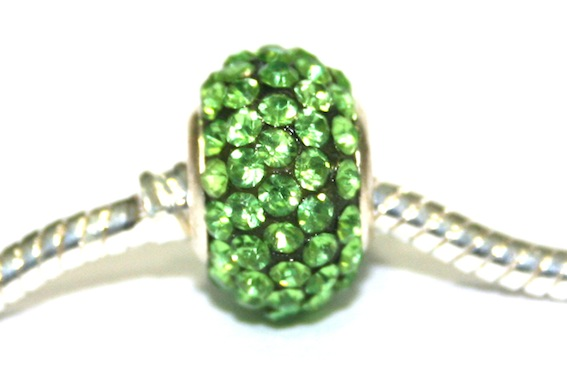 Green 15mm x 10mm Pave crystal bead with 5mm hole PD-S-15- 13
