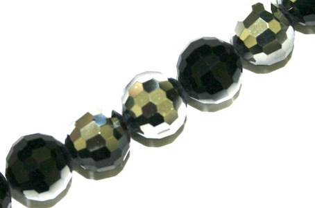 Half Black & Silver 10mm 96 Facets Glass Beads x 72 Pces