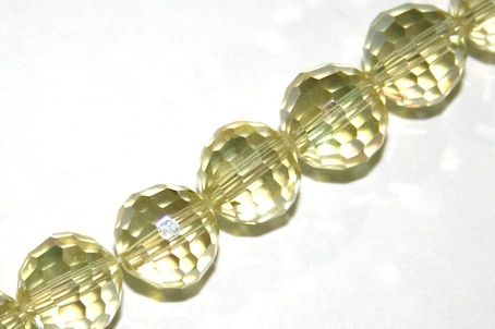 Lemon - Yellow 10mm 96 Facets Glass Beads x 72 Pces