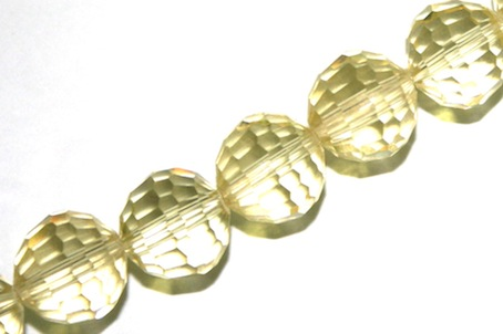 Lemon Yellow AB 10mm 96 Facets Glass Beads x 72 Pces