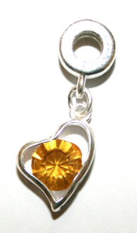 Love Heart Charm And Carrier In Citrine