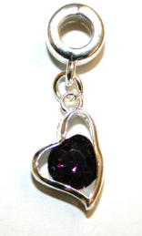 Love heart Charm And Carrier In Purple