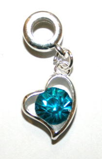 Love Heart Charm And Carrier In Turquoise