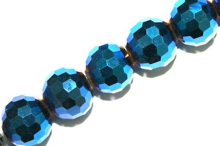 Metallic Blue 10mm 96 Facets Glass Beads x 72 Pces
