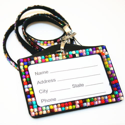 Multi-colour / Black bling Lanyard with ID Badge -- DLNH009