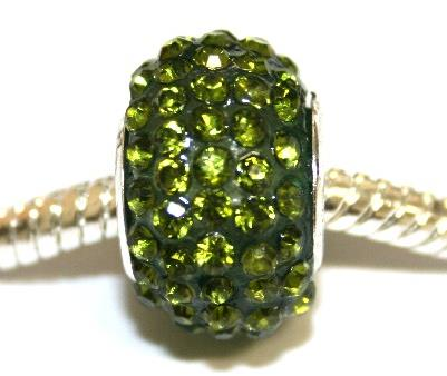 Olive green 15mm x 10mm Pave crystal bead with 5mm hole PD-S-15- 19