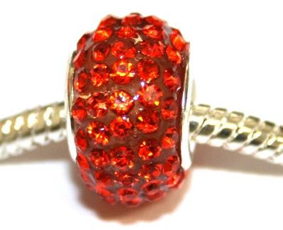 Orange 15mm x 10mm Pave crystal bead with 5mm hole PD-S-15- 18