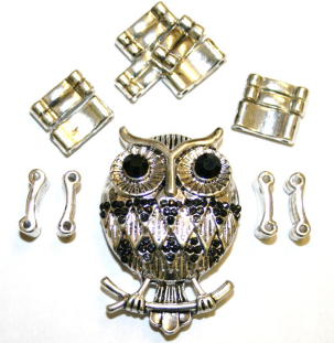 Owl Pendant Ring Kit 12 Pieces & Elastic 1 piece/ Ant Silver & Black 1411131