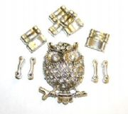 Owl Pendant Ring Kit  12 Pieces & Elastic 1 piece/ Ant Silver & Clear 1411135