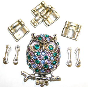 Owl Pendant Ring Kit 12 Pieces & Elastic 1 piece/ Ant Silver & Multicolour S.F07-WA212/208-1411136