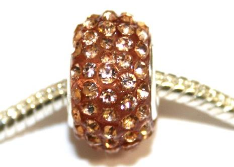 Peach 15mm x 10mm Pave crystal bead with 5mm hole PD-S-15- 20