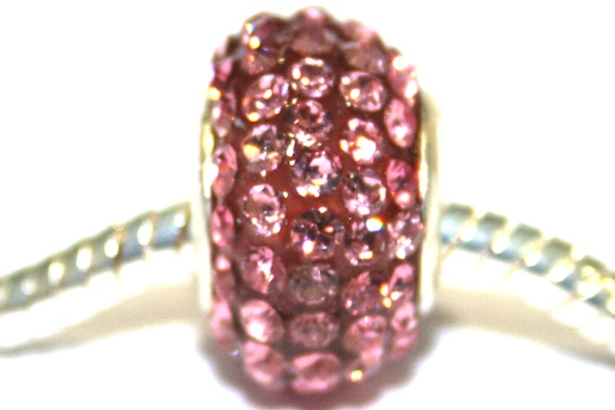 Pink 12mm x 8mm Pave crystal bead with 5mm hole PD-S-12- 11