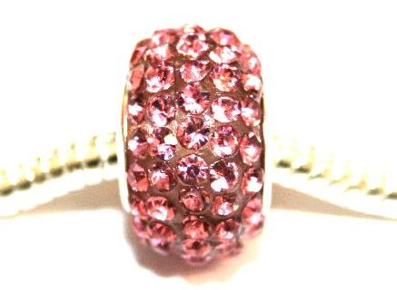 Pink 15mm x 10mm Pave crystal bead with 5mm hole PD-S-15- 11
