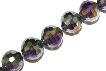 Purple AB 10mm 96 Facets Glass Beads x 72 Pces