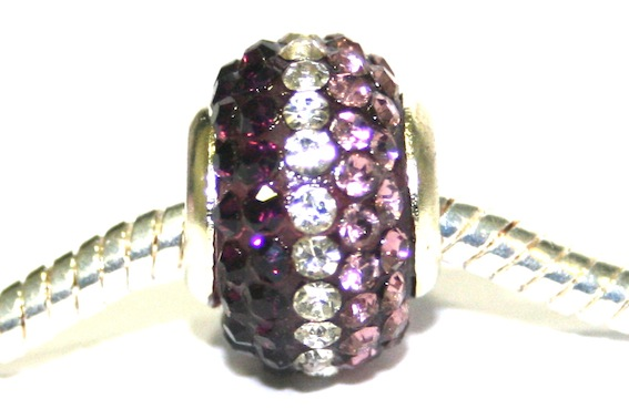 Purple clear 12mm x 8mm Pave crystal bead with 5mm hole PD-S-12- 33