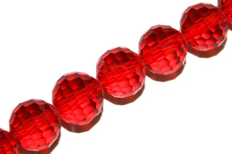 Red 10mm 96 Facets Glass Beads x 72 Pces