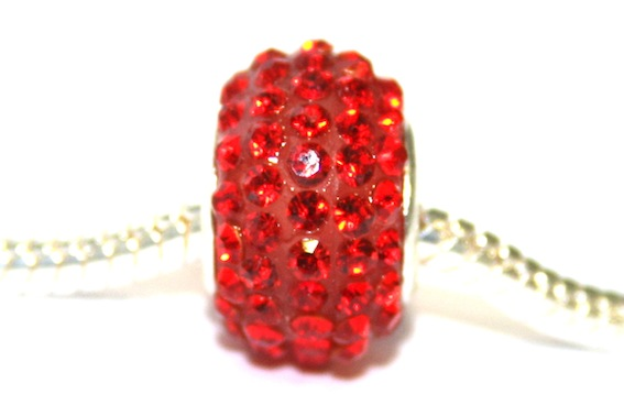 Red 15mm x 10mm Pave crystal bead with 5mm hole PD-S-15- 09