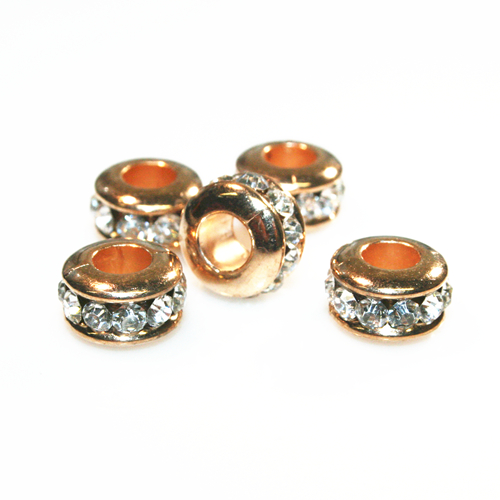 Rondelle spacer with rhinestone - 10*6mm