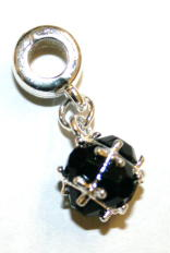 Rounded Faceted Glass Charm And Carrier In Black