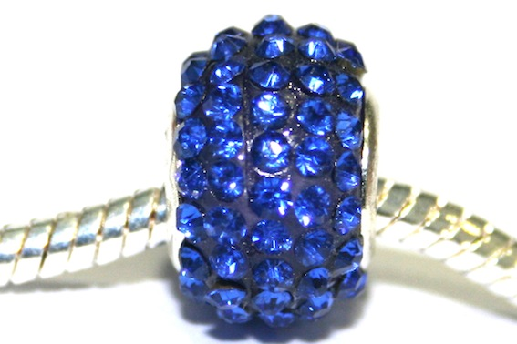 Sapphire blue 12mm x 8mm Pave crystal bead with 5mm hole PD-S-12- 10