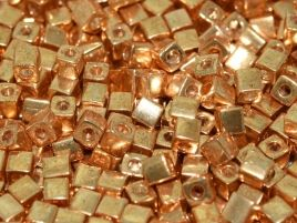SB1052 SQUARE BEADS 3 MM GALVANIZED GOLD (15 grams)
