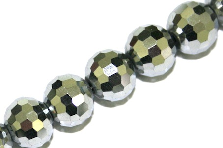 Silver 10mm 96 Facets Glass Beads x 72 Pces