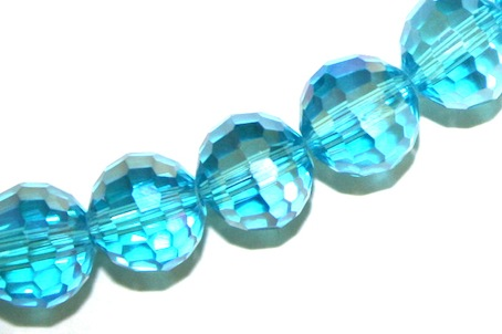 Sky Blue AB AB 10mm 96 Facets Glass Beads x 72 Pces