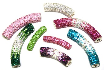 Spacer Tubes - Pave Crystal Spacer Beads