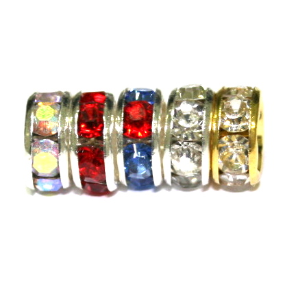 Straight rhinestone Rondelle Spacers