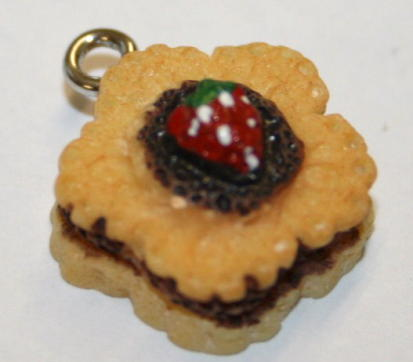 STRAW CHOC CAKE FOOD CHARM 15MM X 9MM CHFD1004