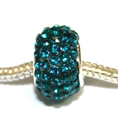Teal 15mm x 10mm Pave crystal bead with 5mm hole PD-S-15- 08