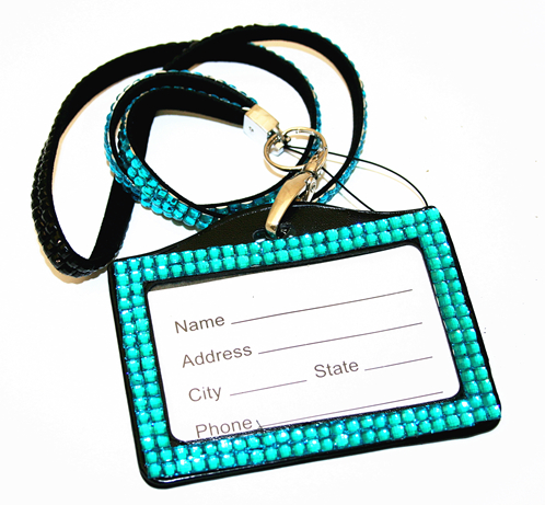 Teal / black bling Lanyard with ID Badge - DLNH008