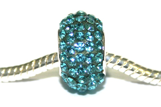 Turquoise 15mm x 10mm Pave crystal bead with 5mm hole PD-S-15-07