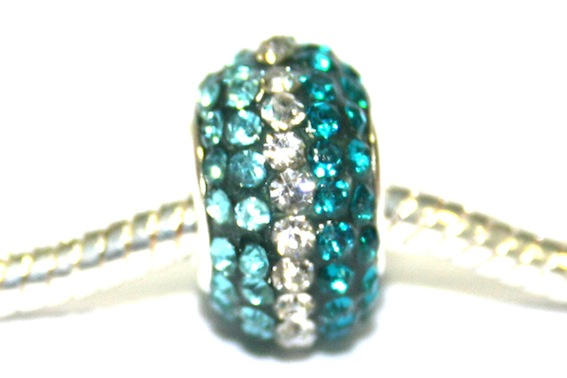 Turquoise-Clear-Teal 15mm x 10mm Pave crystal bead with 5mm hole PD-S-15- 034