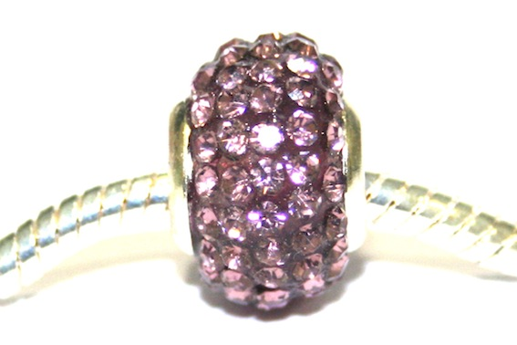 Violet 12mm x 8mm Pave crystal bead with 5mm hole PD-S-12- 14